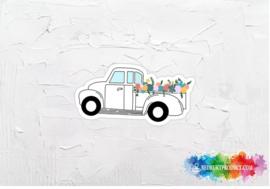 Floral truck sticker
