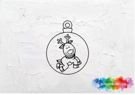 Rudolph kerstbal sticker