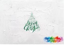 Kerstboom Merry Christmas sticker