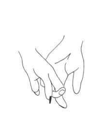 """Handgemaakte Kaart """"Holding hands"""""""