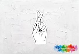 Fingers crossed sticker