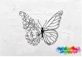 Floral butterlfy sticker