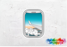 Airplane window view sticker