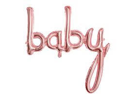 Folieballon letters 'baby' rosé-goud