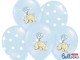 Mix van blauwe ballonnen met olifantjes en blauwe-witte stippen