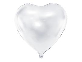 Folieballon hart wit (61cm)