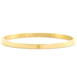 Armband RVS (goud) met klavertje 4