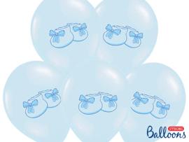 Blauwe ballonnen met schoentjes (6st)