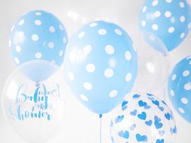 Blauw-witte stippen ballonnen (6st)