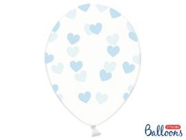 Doorzichtige ballonnen met blauwe hartjes (6st)