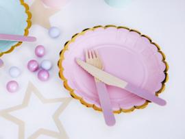 Bordjes met gouden randje (roze)