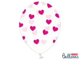 Doorzichtige ballonnen met donker roze hartjes (6st)