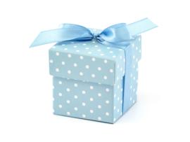 Doosjes: blauw-witte stippen (10 stuks)
