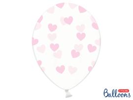 Doorzichtige ballonnen met roze hartjes (6st)