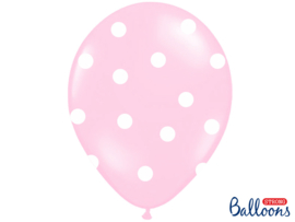Roze met witte stippen ballonnen (6st)