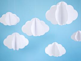 Decoratie wolken om op te hangen (3 st)