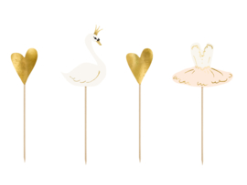 Cupcake toppers lieve zwaan (4st)