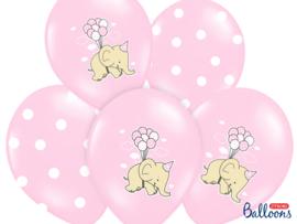 Mix van roze ballonnen met olifantjes en roze-witte stippen