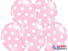 Roze-witte stippen ballonnen (6st)