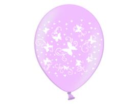 Ballonnen met vlinders (roze) 6 st