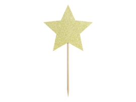 Cupcake toppers sterren glinsterend goud (6st)