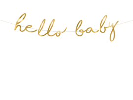 "Banner ""hello baby"" goud"