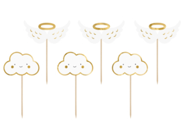 Cupcake toppers wolken en vleugels (6st)