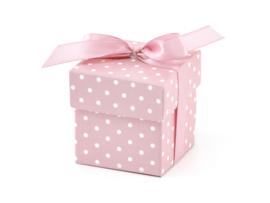Doosjes: roze-witte stippen (10 stuks)