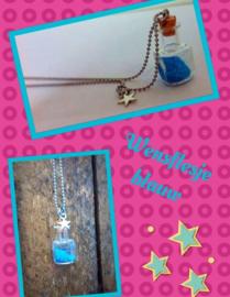 Handgemaakt wensflesje ketting Blauw