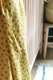Hydrofiel doek hartjes oker geel