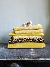 Ribfluweel deken oker geel