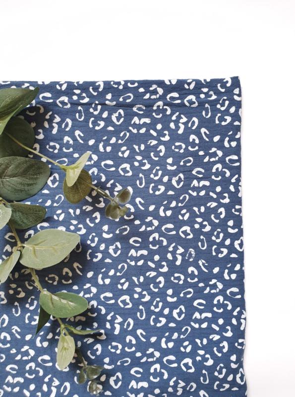 Hydrofiel doek luipaard indigo blauw