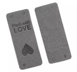 Lederen kleding label: Made with love grijs