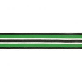 Gestreept band groen zwart 25mm