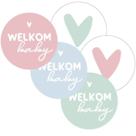 Sticker 40mm rond Welkom baby(5stuks)