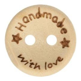 Houten knoop Handmade with love 20mm