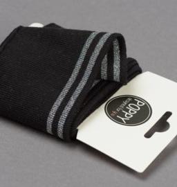 Poppy Boordstof /Cuffs Strepen zwart-zilver