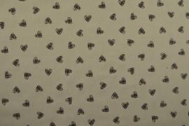Coupon 100 cm Katoen hearts grey