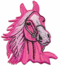 Applicatie paardenhoofd roze