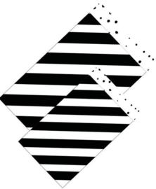 Cadeauzakje 17x25  zwart-wit diagonaal(per 5)