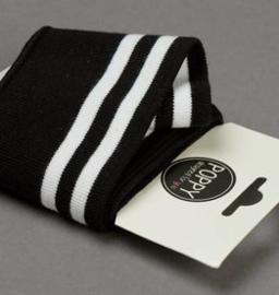 Poppy Boordstof /Cuffs Strepen zwart-wit
