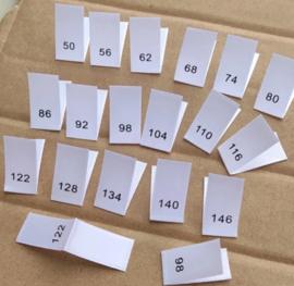 Maat labels geweven (enkele maat) (per 10)