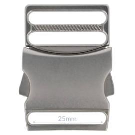 Turbo gesp metaal zwart/zilver/brons 25mm