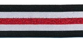 Elastiek gestreept zwart-wit met rood lurex 25 mm