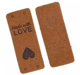 Lederen kleding label: Made with love bruin
