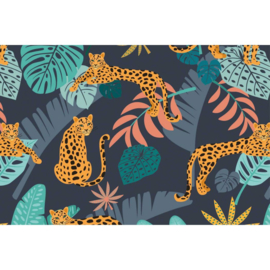 Tricot Megan Blue  Panther in jungle