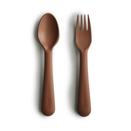 Mushie Fork & Spoon Caramel