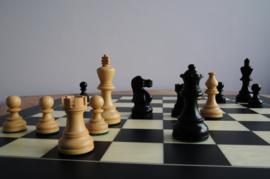 Amercian Ebonised 78 mm Schaakstukken met een Parijs 45 schaakbord