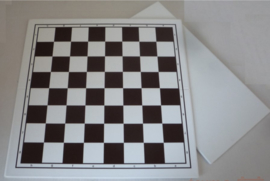 Kunststof schaakbord met bruin witte velden staunton 6