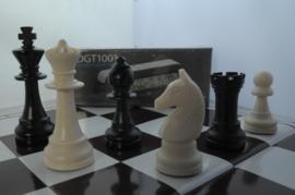 Kunstof schaakbord en stukken met een DGT 1001 schaakklok